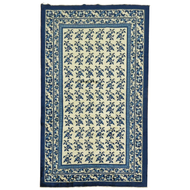 White Blue Chinese Rug For Sale
