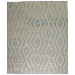White Blue Gray Modern Turkish Tulu Carpet