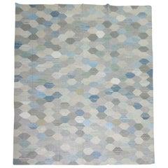 White Blue Gray Vintage Turkish Kilim