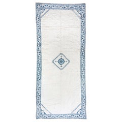 White & Blue Hand Knotted Cotton Agra Carpet circa 1950s, Small Center Medallion