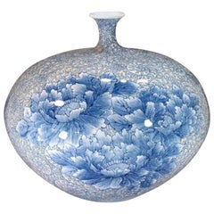 Japanese White Blue and Porcelain Vase by Contemporary Master Artist