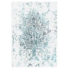 White & Blue Tree of Life Rug from the Modern Persian Collection by Gordian Rugs