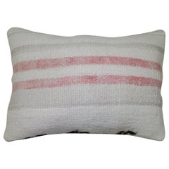 White Blush Gray Striped Vintage Turkish Kilim Lumbar Size Pillow
