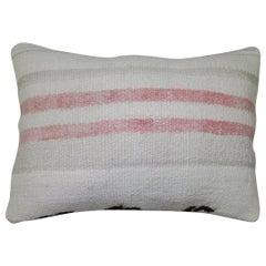 White Blush Gray Striped Vintage Turkish Kilim Lumbar Size Pillow