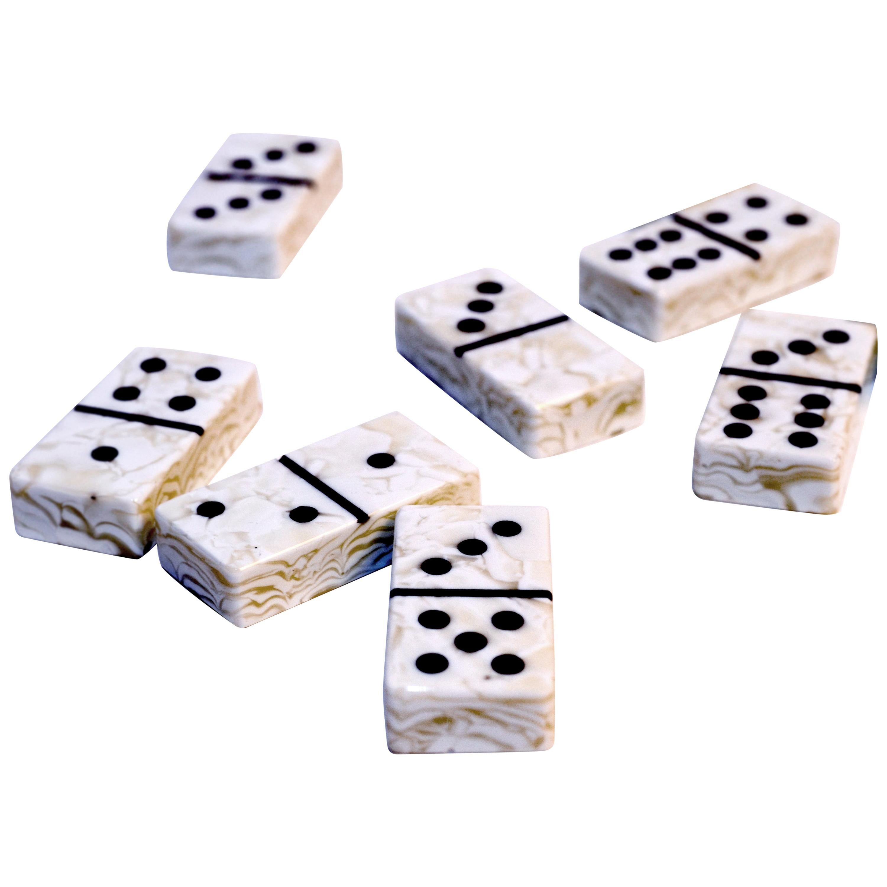 White Boiled Art Glass Domino Collection with Wood Case