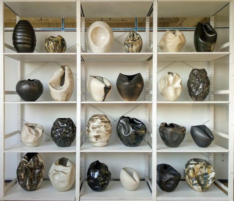 White Breath, Ceramic Vase, Interior Sculpture or Vessel, Objet D'art For Sale 6