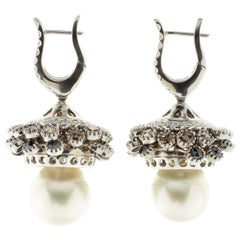 White, Brown and Black Diamond Drop Earrings in White Gold