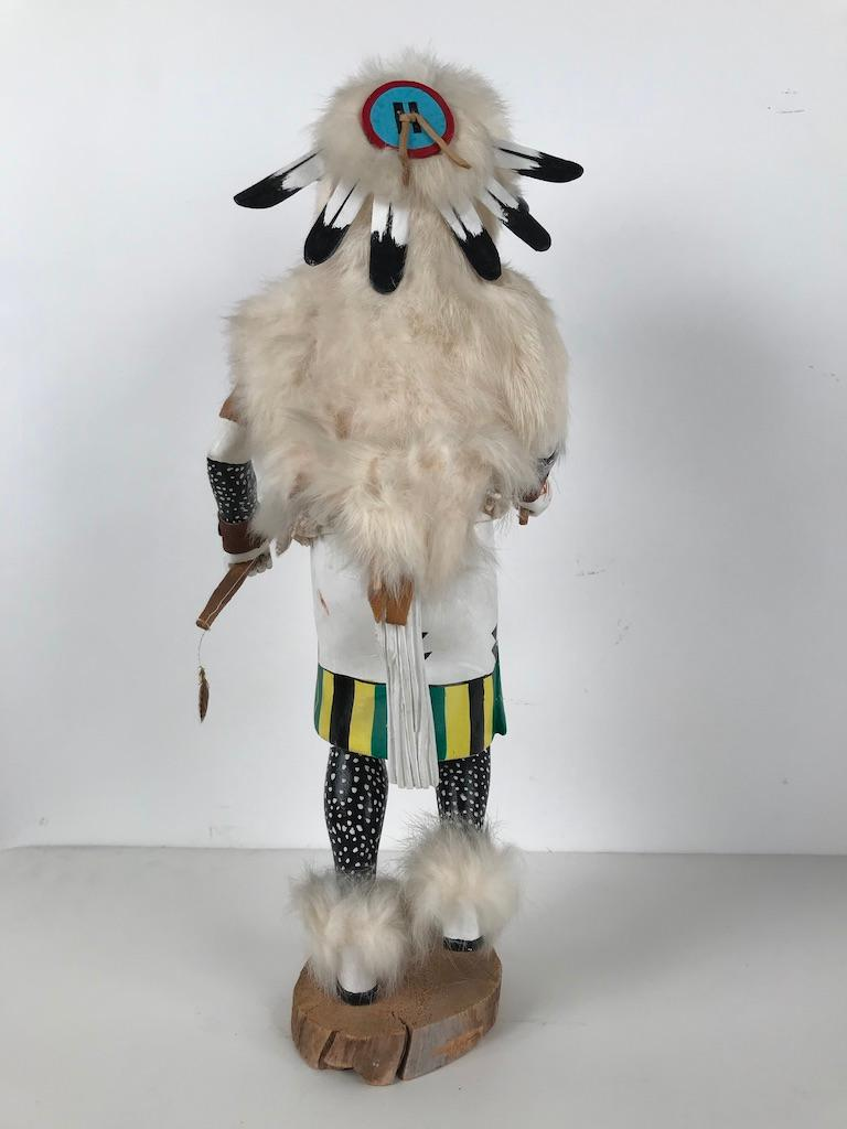 White Buffalo Kachina Doll Hand Carved Signed by Artist For Sale 3
