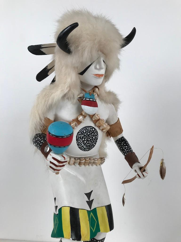 White Buffalo Kachina Doll Hand Carved Signed by Artist For Sale 6