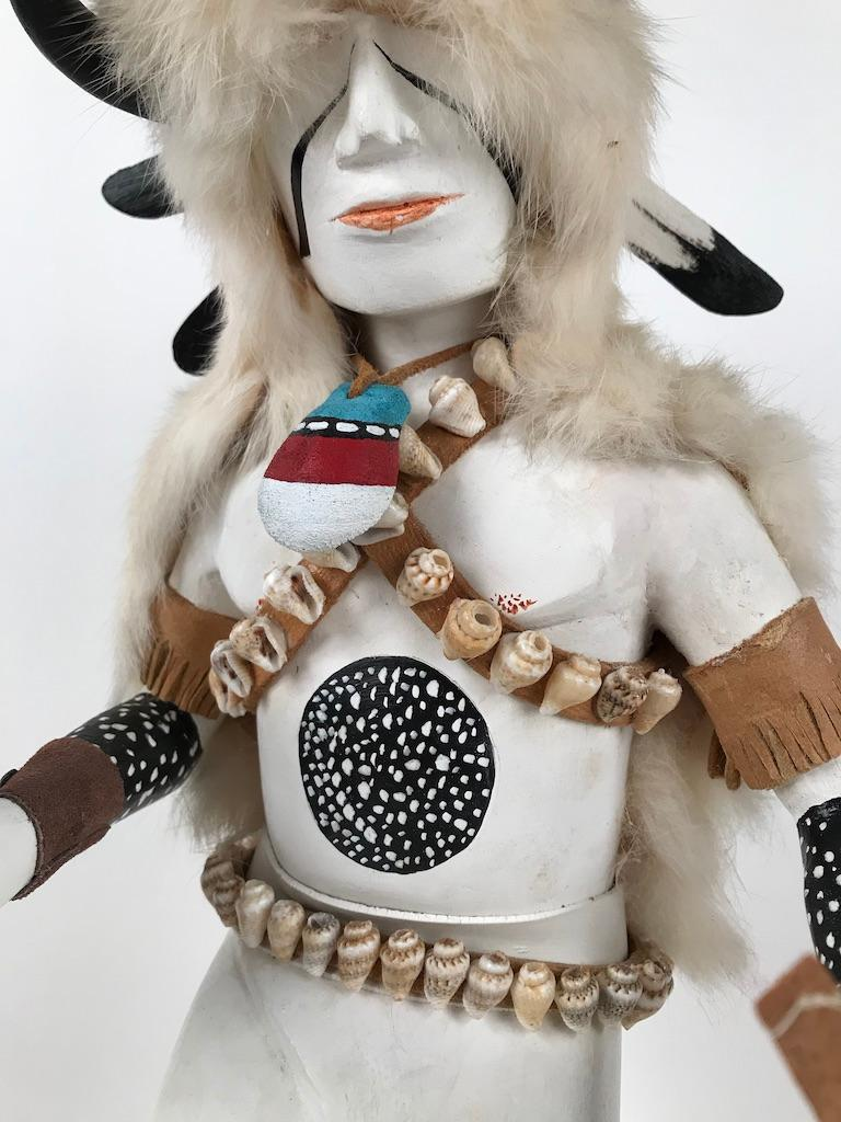 White Buffalo Kachina Doll Hand Carved Signed by Artist For Sale 8