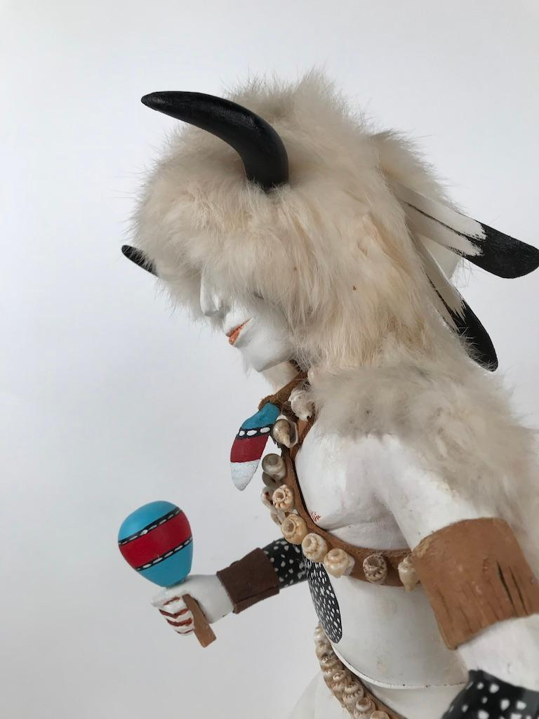 White Buffalo Kachina Doll Hand Carved Signed by Artist For Sale 9