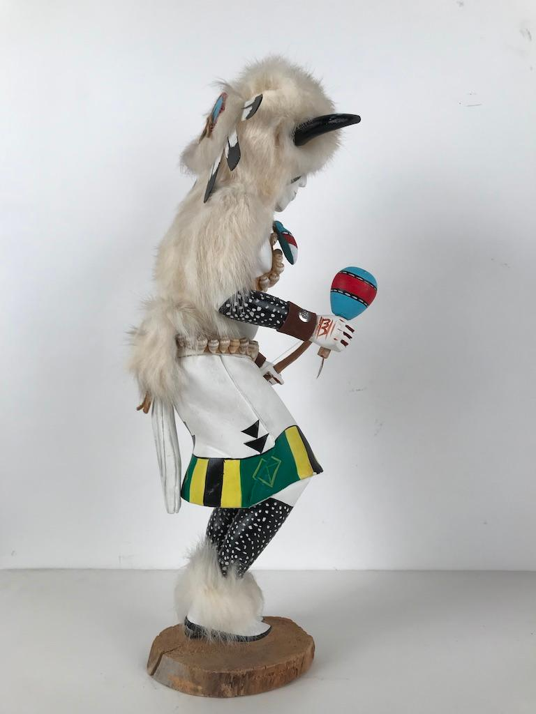 White Buffalo Kachina Doll Hand Carved Signed by Artist For Sale 12