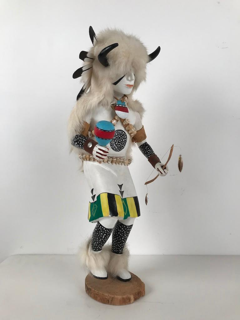 Native American White Buffalo Kachina Doll Hand Carved Signed by Artist For Sale