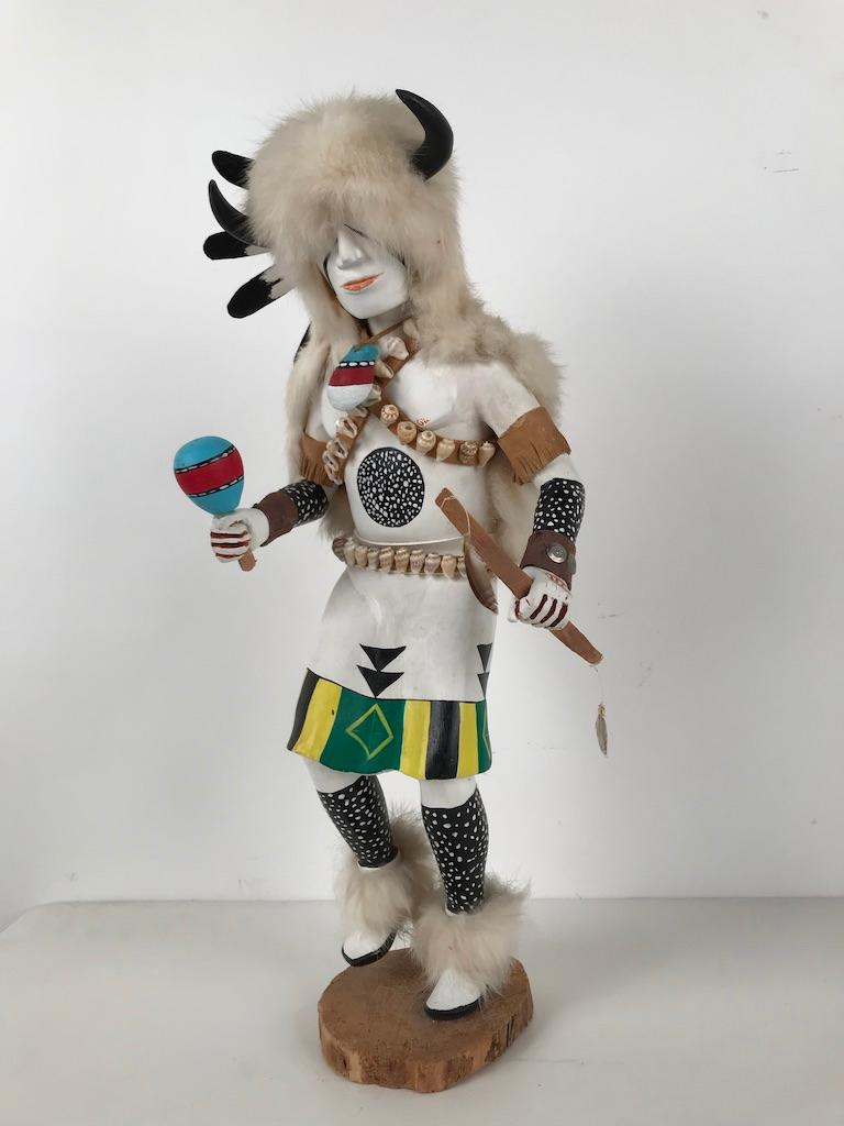 American White Buffalo Kachina Doll Hand Carved Signed by Artist For Sale