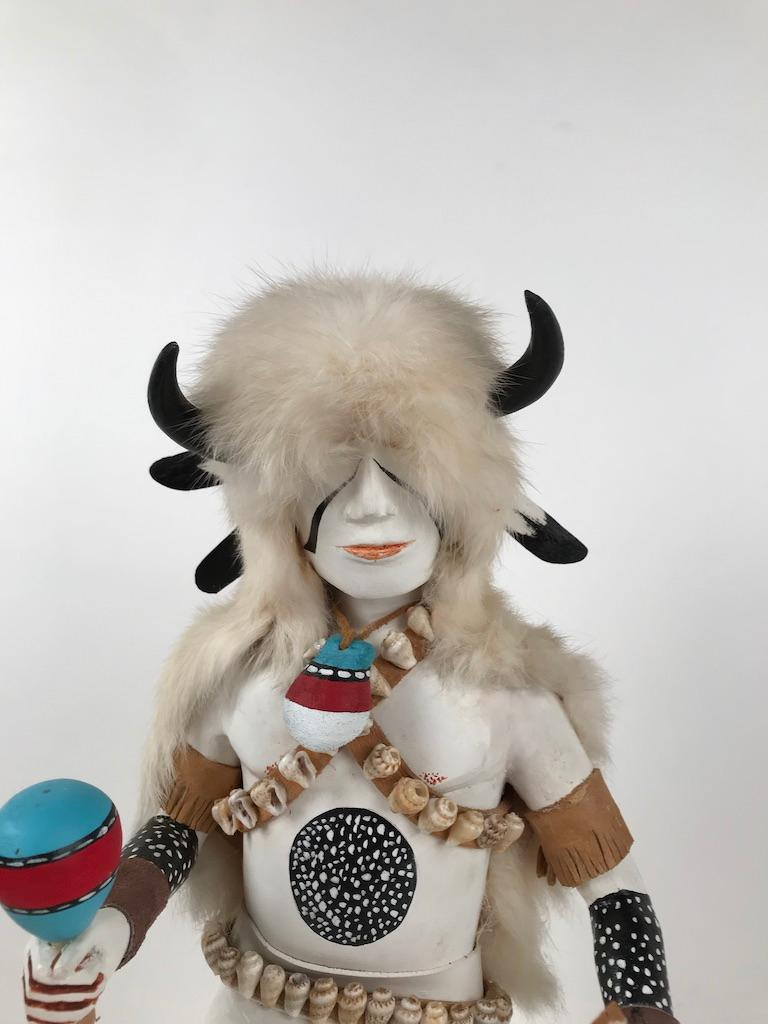 Hand-Carved White Buffalo Kachina Doll Hand Carved Signed by Artist For Sale
