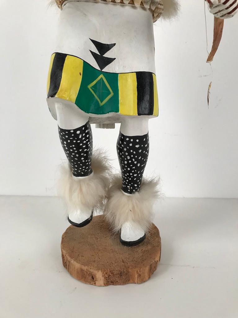 White Buffalo Kachina Doll Hand Carved Signed by Artist In Good Condition For Sale In Stamford, CT