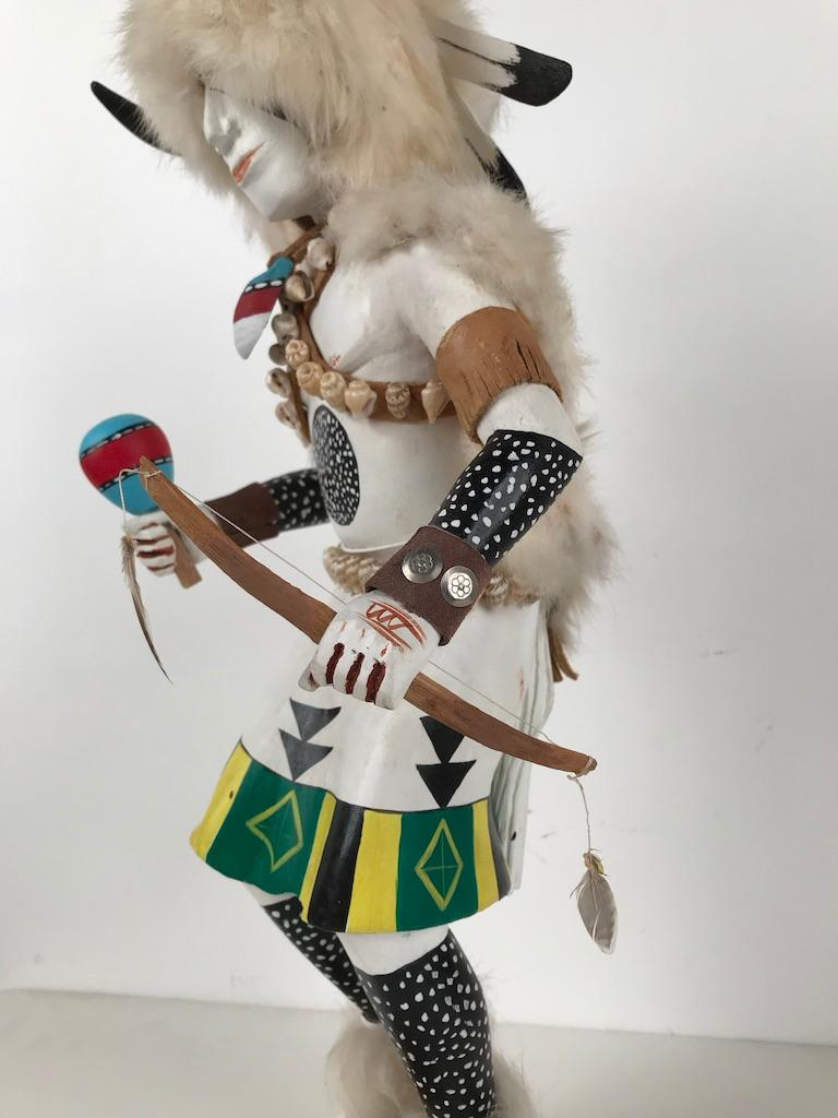 20th Century White Buffalo Kachina Doll Hand Carved Signed by Artist For Sale