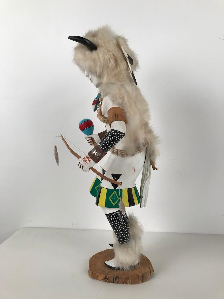 Wood White Buffalo Kachina Doll Hand Carved Signed by Artist For Sale