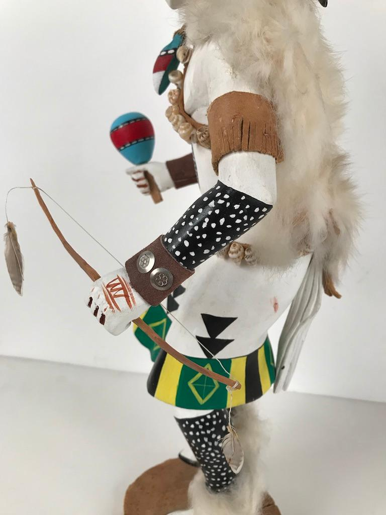 White Buffalo Kachina Doll Hand Carved Signed by Artist For Sale 1