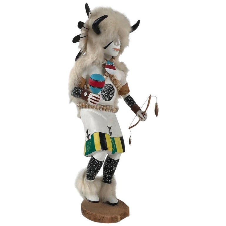 White Buffalo Kachina Doll Hand Carved Signed by Artist For Sale