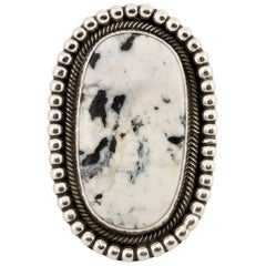 White Buffalo Turquoise and Sterling Ring