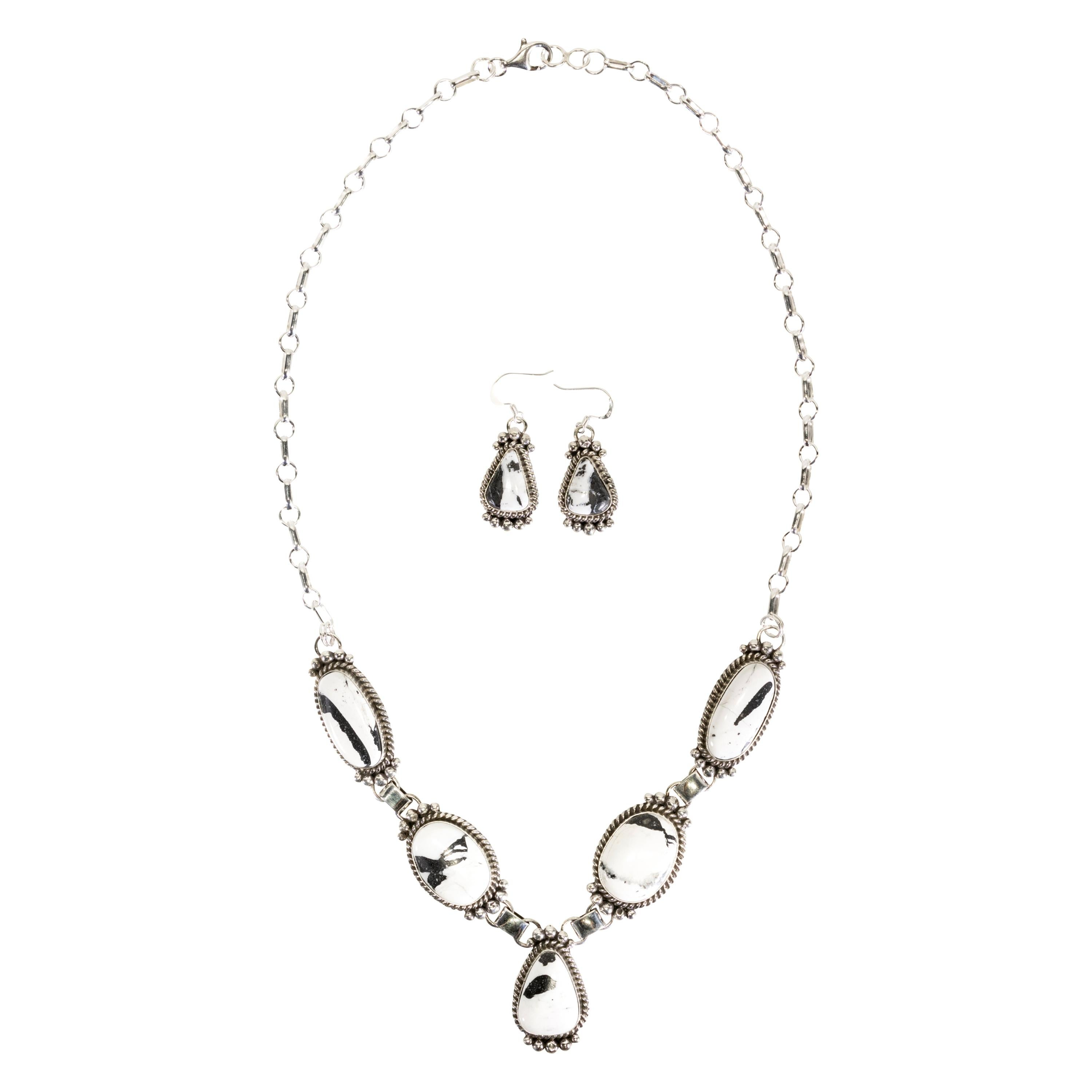 White Buffalo Turquoise Necklace and Earrings Set