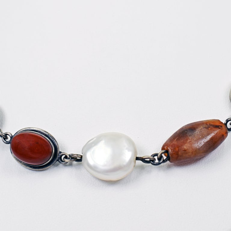 Women's White Buffalo Turquoise Sterling Silver Multi-Gemstone Bohemian Link Necklace For Sale