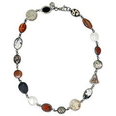 White Buffalo Turquoise Sterling Silver Multi-Gemstone Bohemian Link Necklace