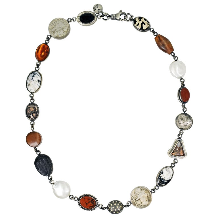 White Buffalo Turquoise Sterling Silver Multi-Gemstone Bohemian Link Necklace For Sale