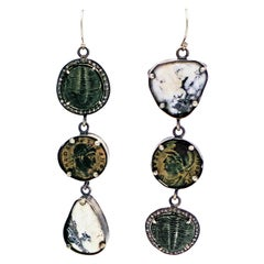 White Buffalo Turquoise, Trilobite Fossil and Ancient Roman Coin Dangle Earrings