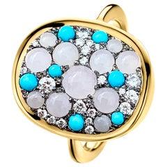 White Burmese Jadeite, Turquoise and White Diamond Pave Ring