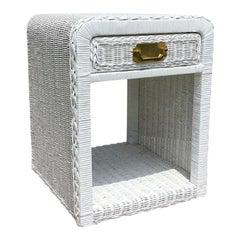 White Campaign Wicker Nightstand or Side Table with Drawer and Brass Hardware