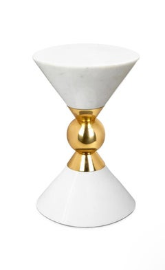 White Canaan Marble and Brass Accent Table