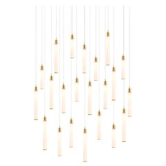 White Candle 22, Blown Glass Pendant Dining Room Chandelier by Shakuff