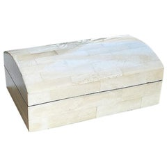 White Capiz Stone and Pearlized Wood Tessellated Shell Casket Box with Lid