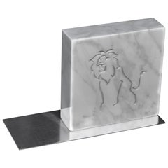 White Carrara Italian Marble  Inlaid Zodiac Bookends steel base