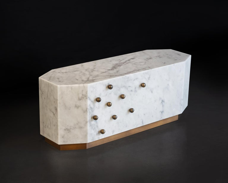 Italian White Carrara Marble Coffe Table For Sale