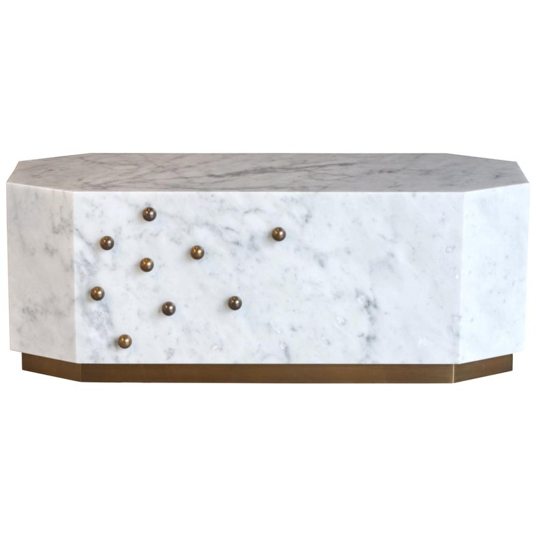 White Carrara Marble Coffe Table For Sale