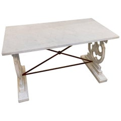 White Carrara Marble Console Table or Work Table.