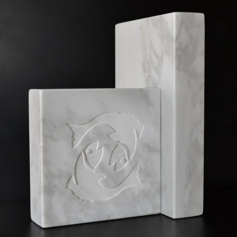Arts and Crafts White Carrara Marble Inlaid Zodiac Bookends For Sale