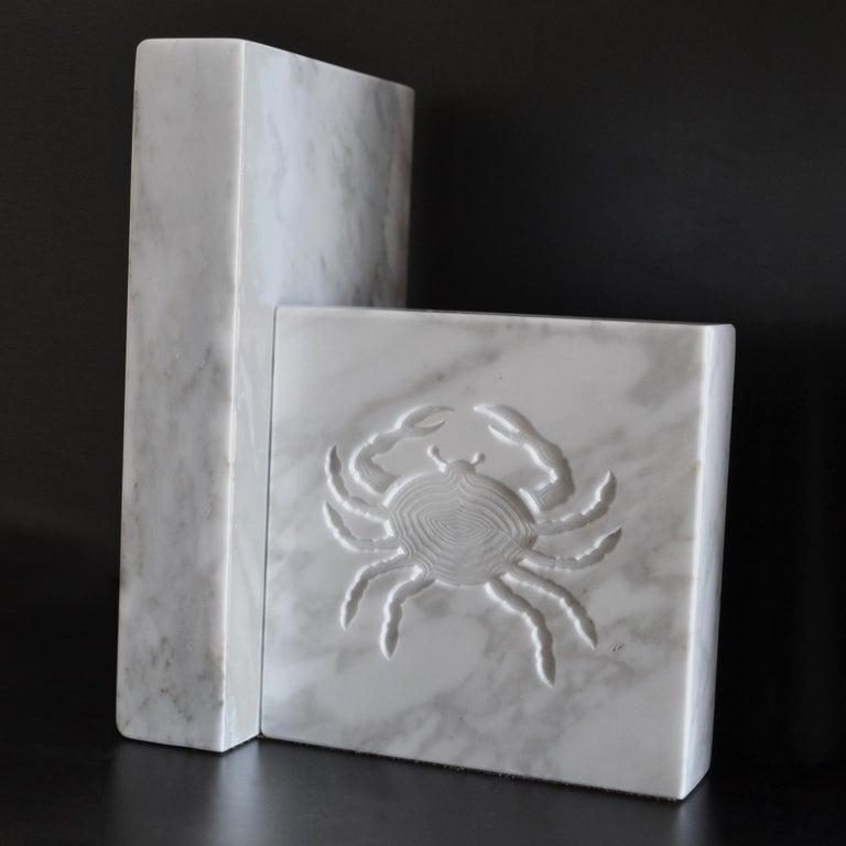 Italian White Carrara Marble Inlaid Zodiac Bookends For Sale