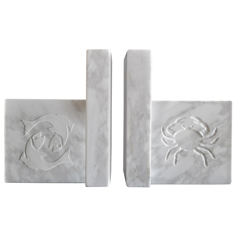 White Carrara Marble Inlaid Zodiac Bookends For Sale
