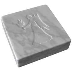 White Carrara Italian Marble Paperweight Inlaid Zodiac Sign