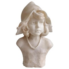 White Carrera Marble Bust of a Girl Wearing a Bonnet