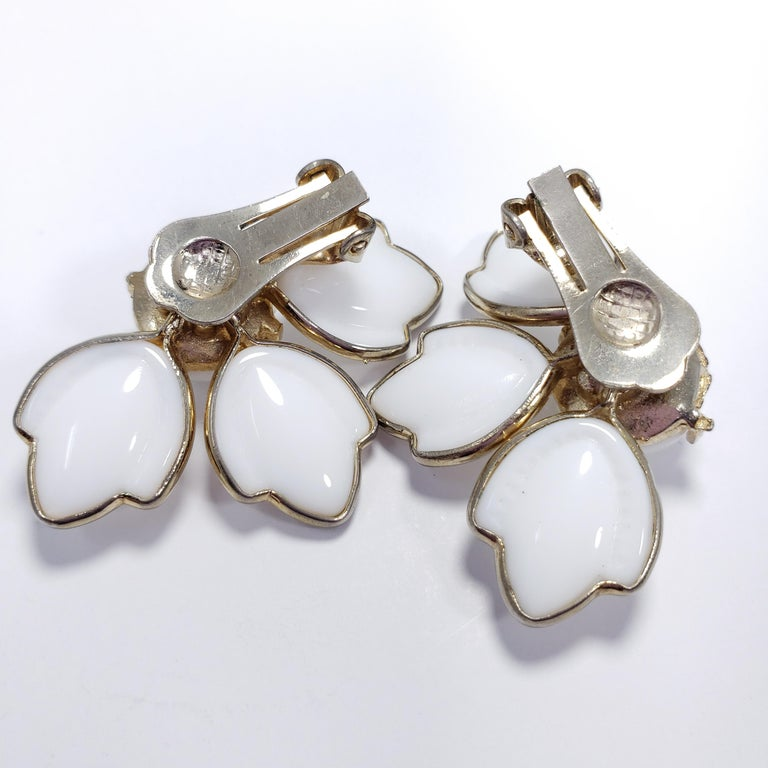Women's or Men's White Carved Glass Petal Clip on Earrings in Gold, Mid 1900s For Sale