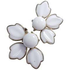 White Carved Glass Petal Clip on Earrings in Gold, Mid 1900s