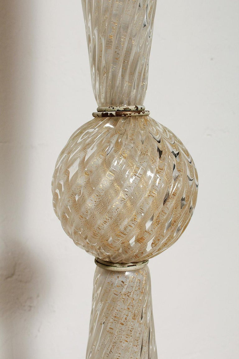 Italian White Cased Murano Glass Floor Lamp with Gold Leaf Inclusions, circa 1950 For Sale
