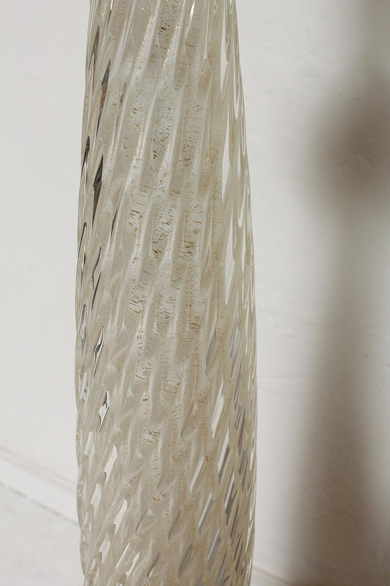 Hand-Crafted White Cased Murano Glass Floor Lamp with Gold Leaf Inclusions, circa 1950 For Sale