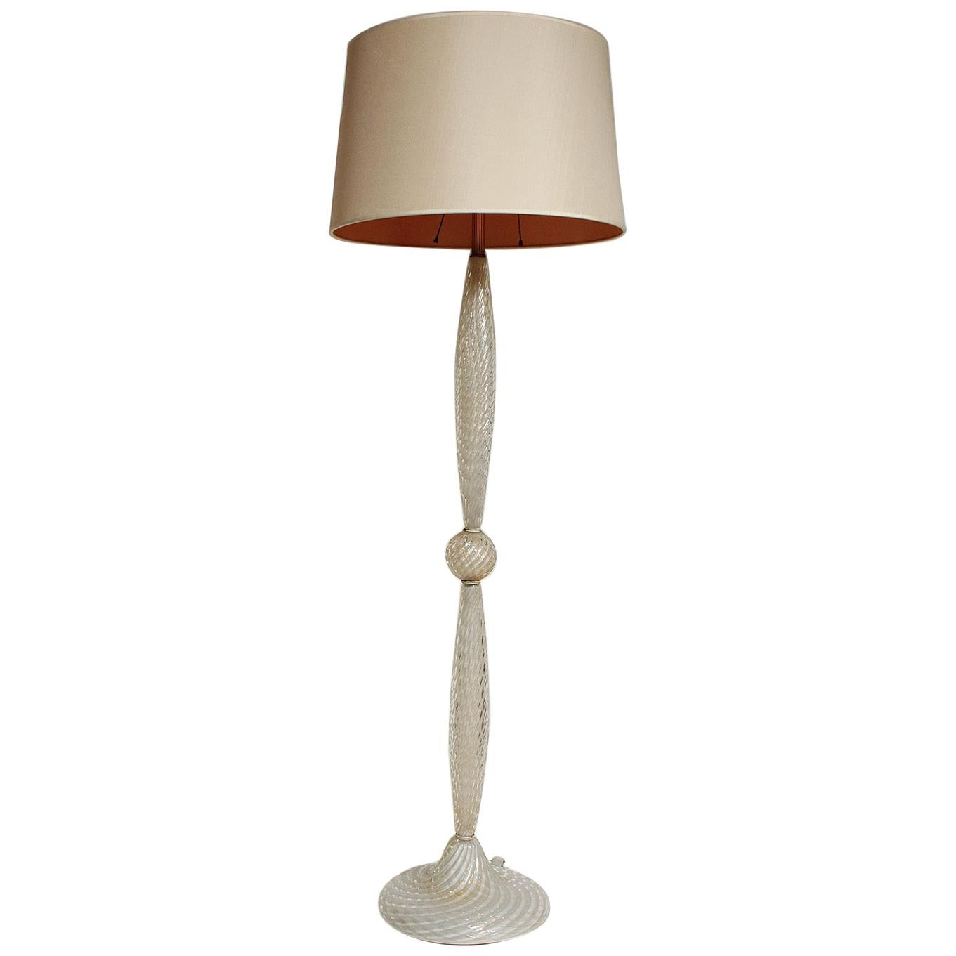 White Cased Murano Glass Floor Lamp with Gold Leaf Inclusions, circa 1950