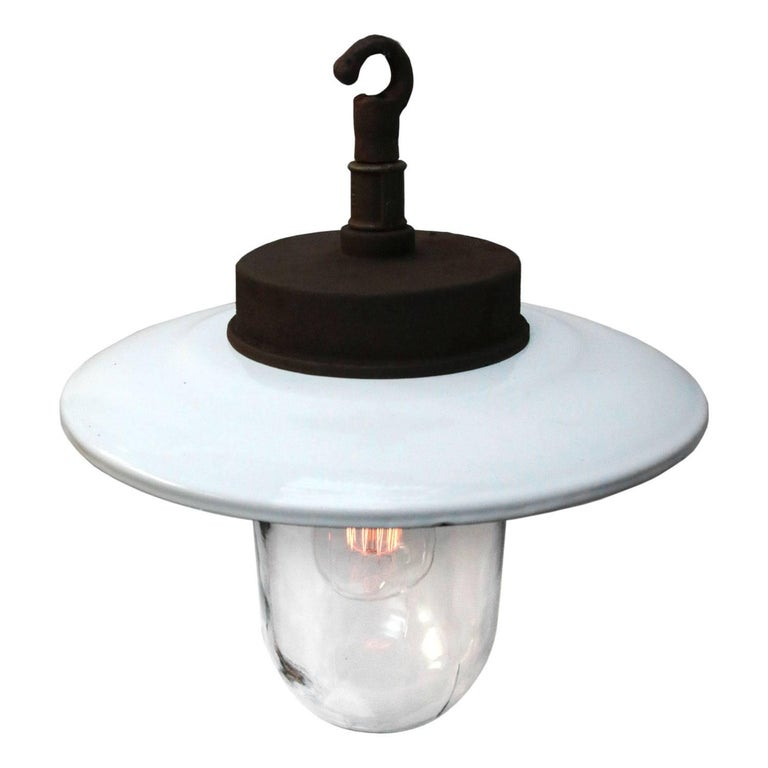 Industrial factory pendant. White enamel shade. Cast iron top. Clear glass.  Weight: 3.0 kg / 6.6 lb  All lamps have been made suitable by international standards for incandescent light bulbs, energy-efficient and LED bulbs. E26/E27 bulb holders and